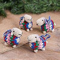 Wool blend ornaments, 'Vibrant Sheep' (set of 4) - Vibrant Wool Blend Sheep Ornaments from Peru (Set of 4)