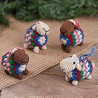 Wool blend ornaments, 'Colorful Sheep' (set of 4) - Colorful Wool Blend Sheep Ornaments from Peru (Set of 4)