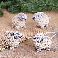 Wool blend ornaments, 'Little Sheep' (set of 4) - Wool Blend Sheep Ornaments in White from Peru (Set of 4)