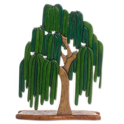 Wood sculpture, 'Weeping Willow' - Wood Weeping Willow Tree Sculpture from Peru