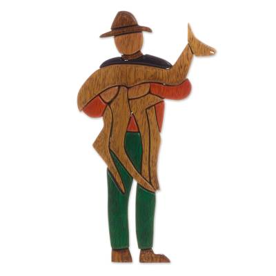 Wood sculpture, 'Alpaca Herdsman' - Handcrafted Wood Sculpture of an Alpaca Herdsman from Peru