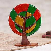 Wood sculpture, 'Tree of Peace' - Colorful Wood Tree Sculpture Handcrafted in Peru