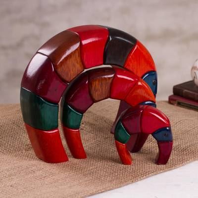 Wood sculptures, 'Elephant Arches' (set of 3) - Colorful Wood Sculptures from Peru (Set of 3)