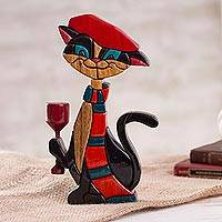 Wood sculpture, 'Parisian Cat' - Colorful Wood Cat Sculpture Crafted in Peru