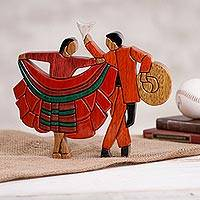 Wood sculpture, 'Marinera Couple' - Dance-Themed Wood Sculpture Crafted in Peru
