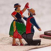 Wood sculpture, 'Marinera' - Wood Sculpture of Marinera Dancers from Peru