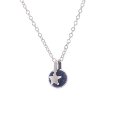 Star Motif Lapis Lazuli Pendant Necklace from Peru