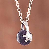 Amethyst pendant necklace, 'Starry Cradle' - Star Motif Amethyst Pendant Necklace from Peru