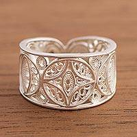 Sterling silver filigree band ring, 'Lunar Effect' - Sterling Silver Filigree Band Ring from Peru