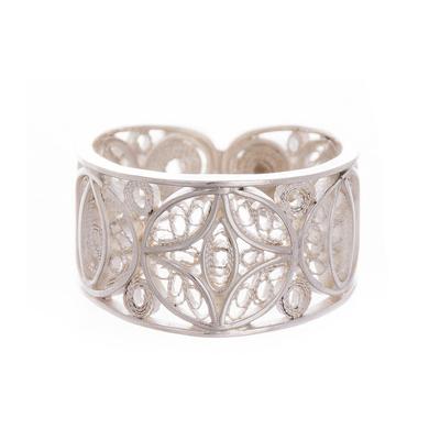 Sterling silver filigree band ring, 'Lunar Effect' - Sterling Silver Filigree Band Ring from Peru