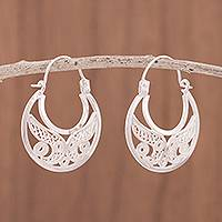 Sterling silver filigree hoop earrings, 'Crescent Delight' - Sterling Silver Filigree Hoop Earrings from Peru