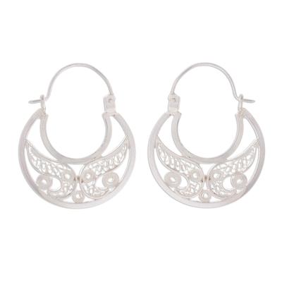 Sterling silver filigree hoop earrings, 'Crescent Delight' - Sterling Silver Filigree Hoop Earrings from Peru