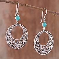 Amazonite dangle earrings, 'Regal Windows' - Amazonite Dangle Earrings Crafted in Peru