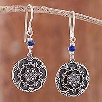 Lapis lazuli dangle earrings, 'Elegant Snowflakes' - Lapis Lazuli Snowflake Dangle Earrings from Peru