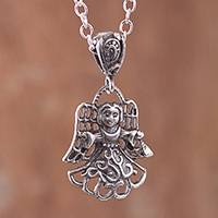 Sterling silver pendant necklace, 'Welcoming Angel' - Sterling Silver Angel Pendant Necklace from Peru