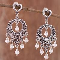 Rose quartz chandelier earrings, 'Heart Festival' - Rose Quartz Chandelier Earrings Crafted in Peru