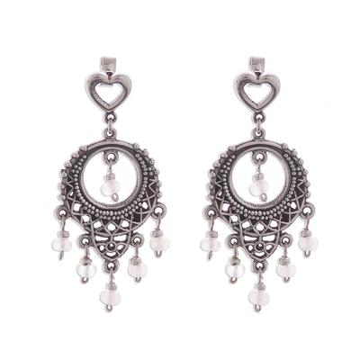 Rose quartz chandelier earrings, 'Heart Festival' - Rose Quartz Chandelier Earrings Crafted in Peru