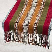 Wool table runner, 'Peruvian Hospitality' - Handwoven Striped Wool Table Runner from Peru