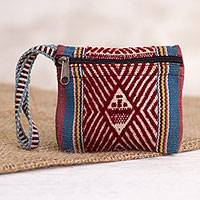 Wool coin purse, 'Inti Trader' - Inti-Inspired Wool Wristlet Coin Purse from Peru