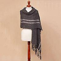 Alpaca blend shawl, 'Comfort Road in Grey' - Handwoven Grey with White Stripes Alpaca Blend Fringed Shawl
