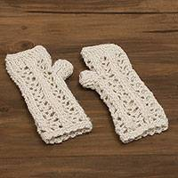 100% alpaca fingerless mitts, 'Cool Antique White' - Hand-Crocheted 100% Alpaca Fingerless Mitts in Antique White