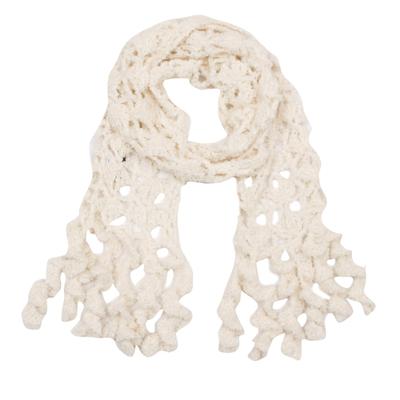 Hand-Crocheted Alpaca Blend Wrap Scarf in Eggshell