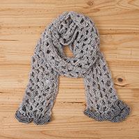 Alpaca blend scarf, 'Andean Mesh' - Hand-Crocheted Alpaca Blend Scarf in Pearl Grey from Peru