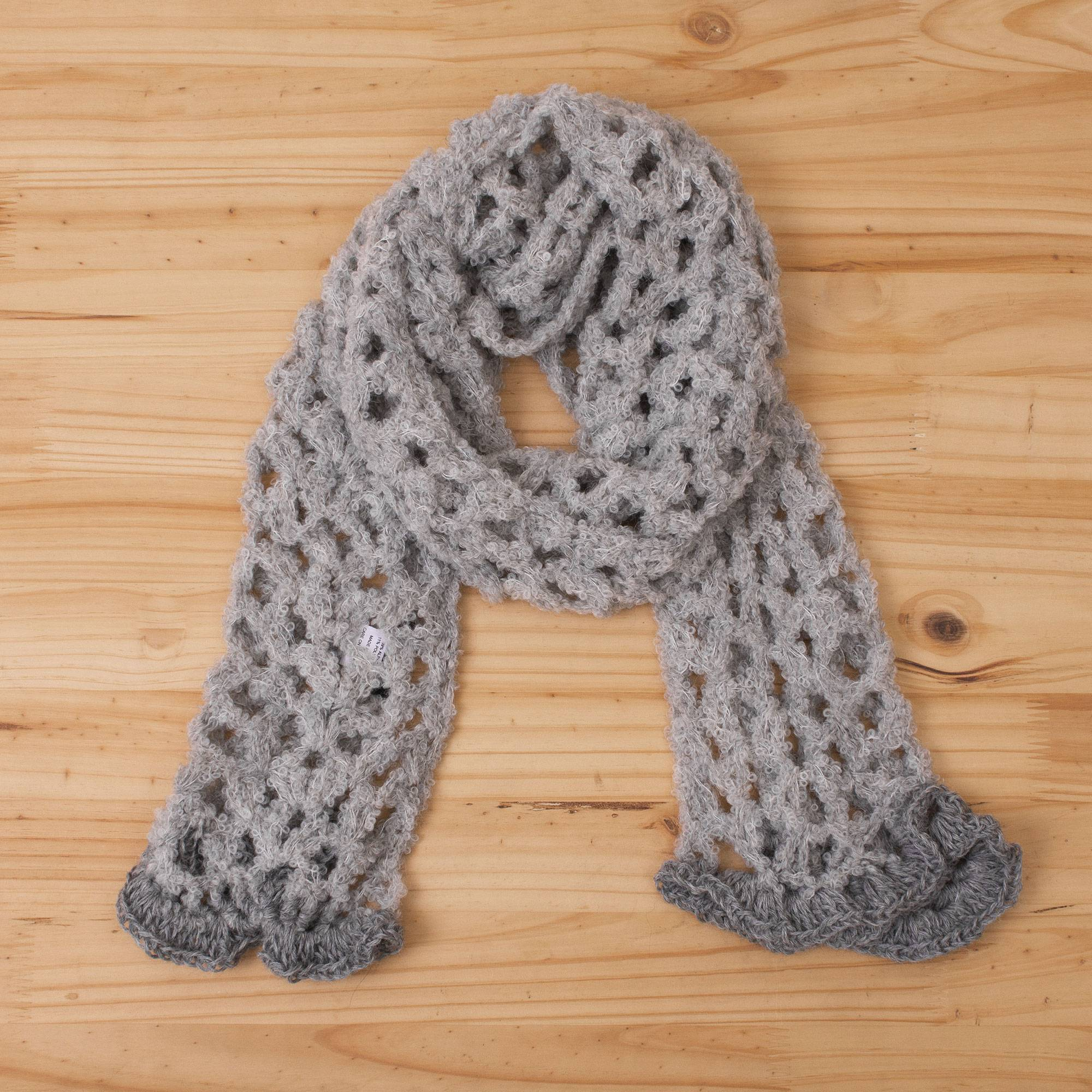 Hand Crocheted Alpaca Blend Scarf In Pearl Grey From Peru Andean