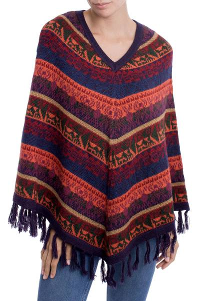 Alpaca blend poncho, 'Inca Gala' - Knit V-Neck Alpaca Wool Blend Poncho from Peru