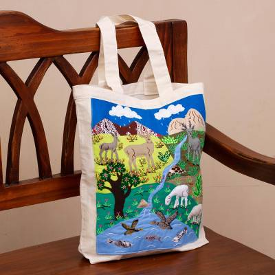 Cotton blend applique tote, 'Andean Morning' - Animal-Themed Cotton Blend Applique Tote from Peru