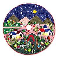 Cotton blend applique tree skirt, 'Christmas Arrives' - Christmas-Themed Cotton Blend Applique Tree Skirt from Peru