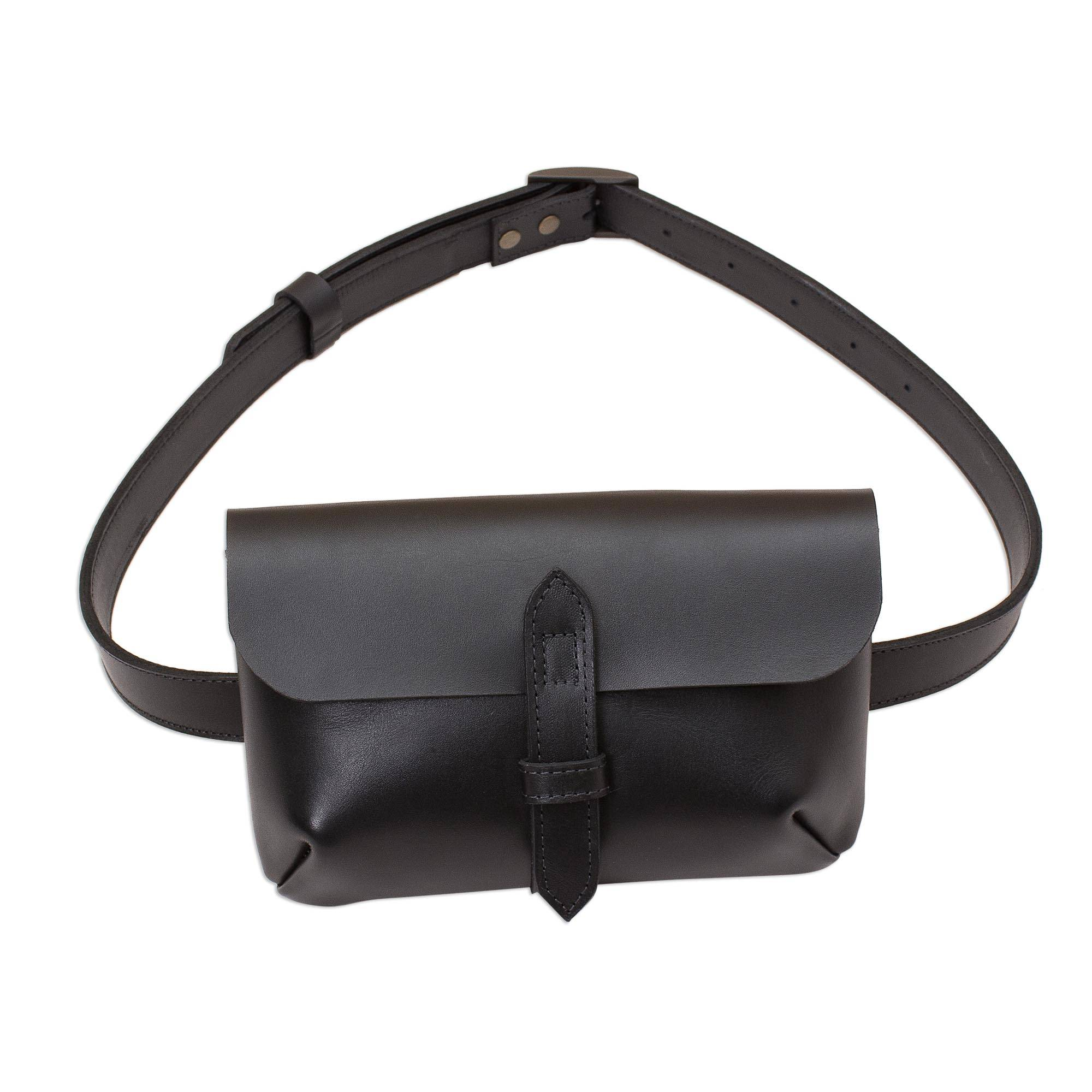 ef4e2321e0d6 Handmade Leather Waist Bag in Black from Peru, 'Experience in Black'