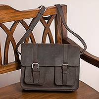 Leather messenger bag, 'Lichen Executive' - Leather Messenger Bag in Lichen from Peru