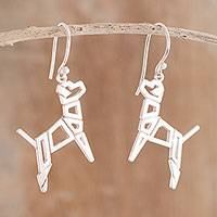 Sterling silver dangle earrings, 'Geometric Dogs' - Geometric Sterling Silver Dog Earrings from Peru