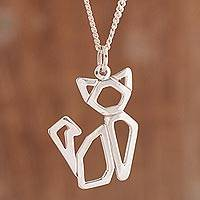 Sterling silver pendant necklace, 'Angular Cat' - Openwork High Polish Sterling Silver Cat Pendant Necklace