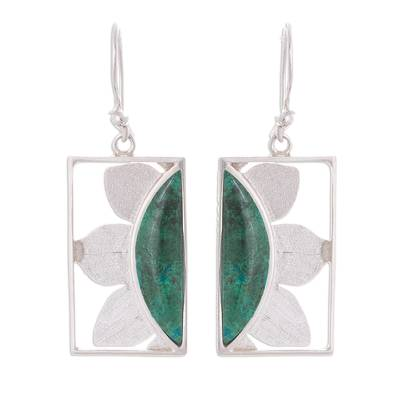 Floral Chrysocolla Dangle Earrings from Peru
