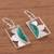 Chrysocolla dangle earrings, 'Floral Rectangles' - Floral Chrysocolla Dangle Earrings from Peru (image 2b) thumbail