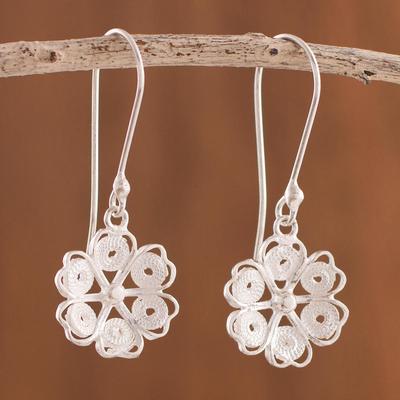4a8f69631 Sterling silver filigree dangle earrings, 'Glistening Bloom' - Floral Sterling  Silver Filigree Dangle