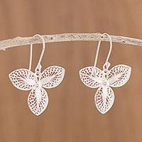 Sterling silver filigree dangle earrings, 'Mystic Clover'