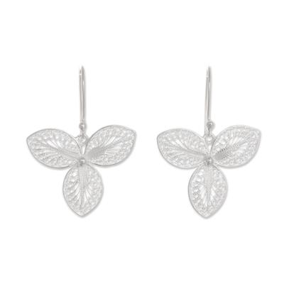 Sterling silver filigree dangle earrings, 'Mystic Clover' - Sterling Silver Clover Filigree Dangle Earrings from Peru