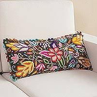 Wool cushion cover, 'Lively Spring' - Crocheted Floral Wool Cushion Cover from Peru