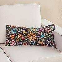 Wool cushion cover, 'Spring in the Andes' - Floral Crocheted Wool Cushion Cover from Peru