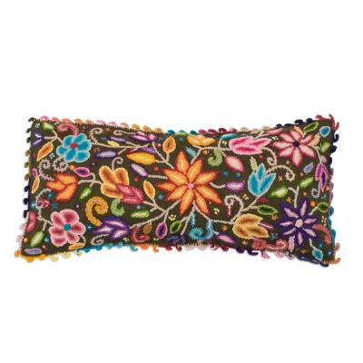 Floral Crocheted Wool Cushion Cover from Peru