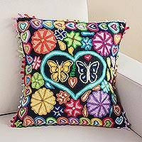 Wool cushion cover, 'Love in the Air' - Butterfly and Flower-Themed Wool Cushion Cover from Peru
