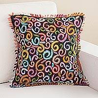 Wool cushion cover, 'Autumn Spirals' - Multicolored Crocheted Wool Cushion Cover from Peru