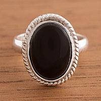 Onyx cocktail ring, 'Black Classic' - Artisan Crafted Oval Onyx Cocktail Ring from Peru
