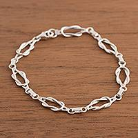 Sterling silver link bracelet, 'Intertwined Links'