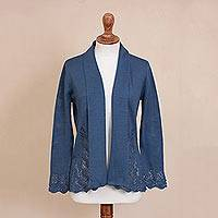 Pima cotton cardigan, 'Autumn Cascade in Azure' - Knit Pima Cotton Cardigan in Azure from Peru