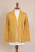 Pima cotton cardigan, 'Autumn Cascade in Amber' - Knit Pima Cotton Cardigan in Amber from Peru thumbail