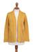 Pima cotton cardigan, 'Autumn Cascade in Amber' - Knit Pima Cotton Cardigan in Amber from Peru (image 2a) thumbail